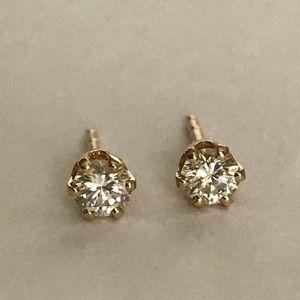 14k .35 CT NATURAL ROUND DIAMOND STUD EARRINGS
